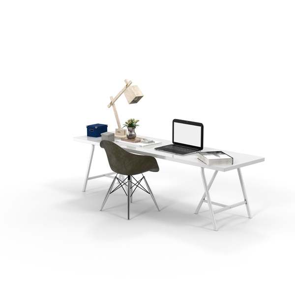 White Desk, Brown Chair and New York Book PNG & PSD Images