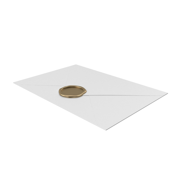 White Envelope with Gold Wax Seal PNG & PSD Images