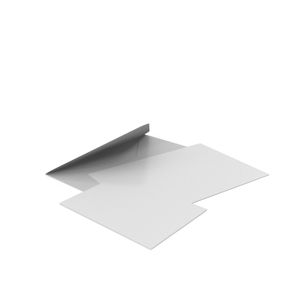 White Envelope with Paper Cards PNG & PSD Images