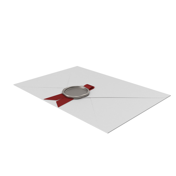 White Envelope with Red Ribbon and Silver Wax Seal PNG & PSD Images