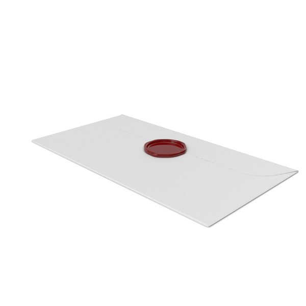 White Envelope with Wax Stamp PNG & PSD Images