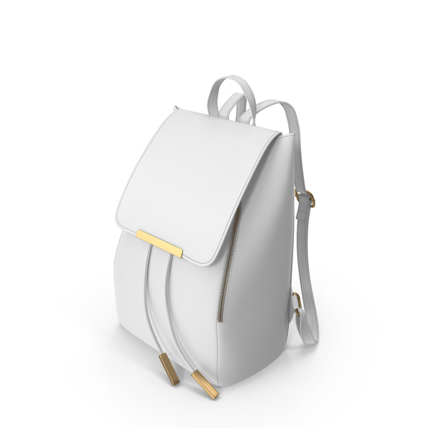 White Faux Leather Backpack PNG & PSD Images