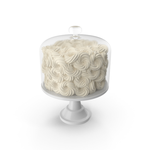White Flower Wedding Cake with Glass Dome PNG & PSD Images