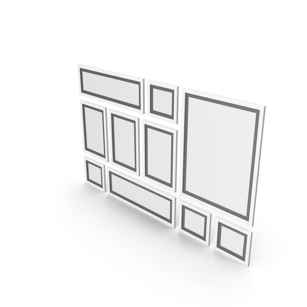 Picture Frame: White Framed Paintings with Black Border PNG & PSD Images
