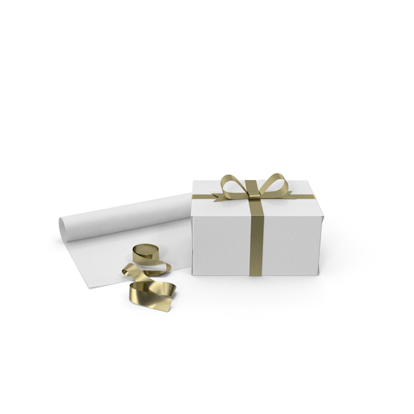 White Gift Box with Paper Roll and Gold Foil Ribbon PNG & PSD Images
