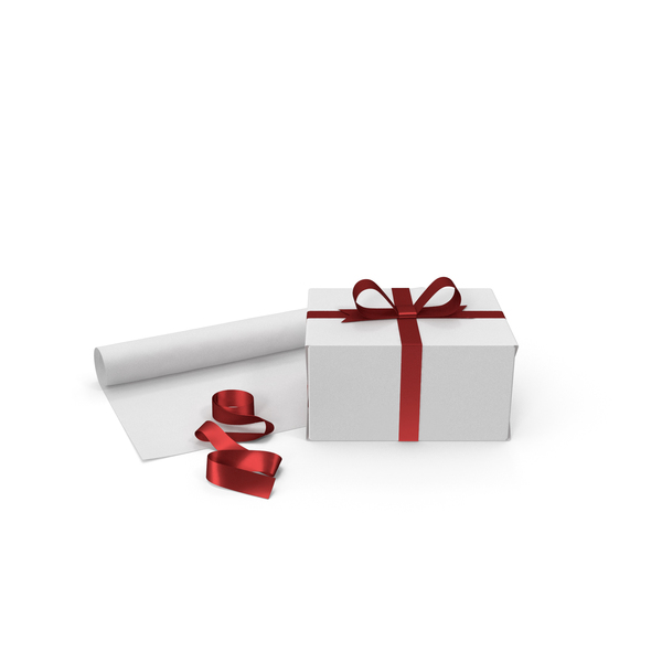 White Gift Box with Paper Roll and Red Foil Ribbon PNG & PSD Images