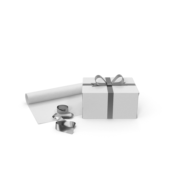 White Gift Box with Paper Roll and Silver Foil Ribbon PNG & PSD Images