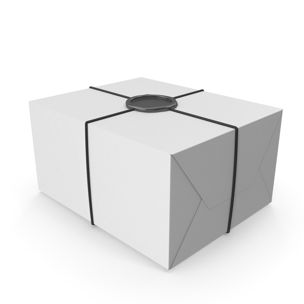 Box: White Gift Wrapping with a Wax Seal PNG & PSD Images