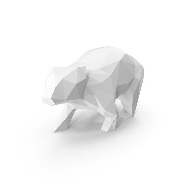 White Low Poly Bear PNG & PSD Images