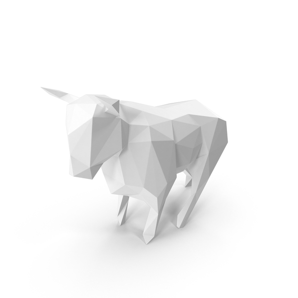 White  Low Poly Bull PNG & PSD Images