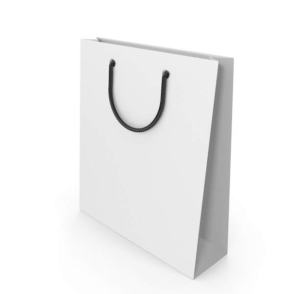 Gift: White Packaging Bag with Black Handles PNG & PSD Images