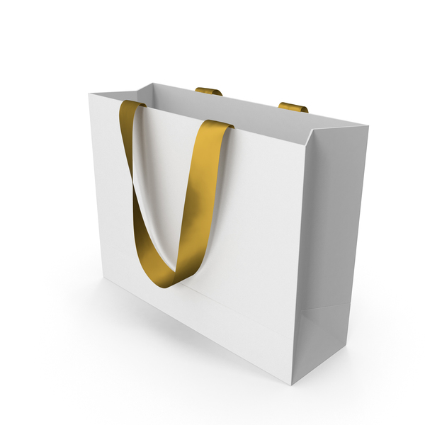 White Packaging Bag with Gold Handles PNG & PSD Images