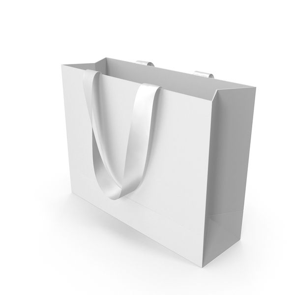 Gift: White Packaging Bag with White Handles PNG & PSD Images