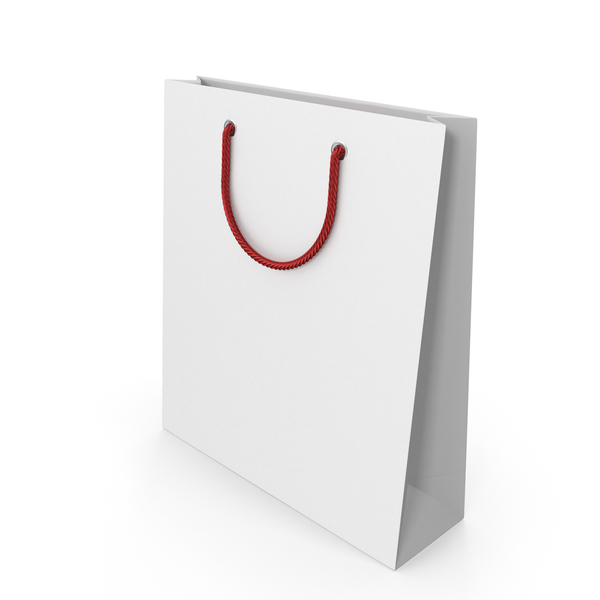 White Packaging Bag with Red Handles PNG & PSD Images