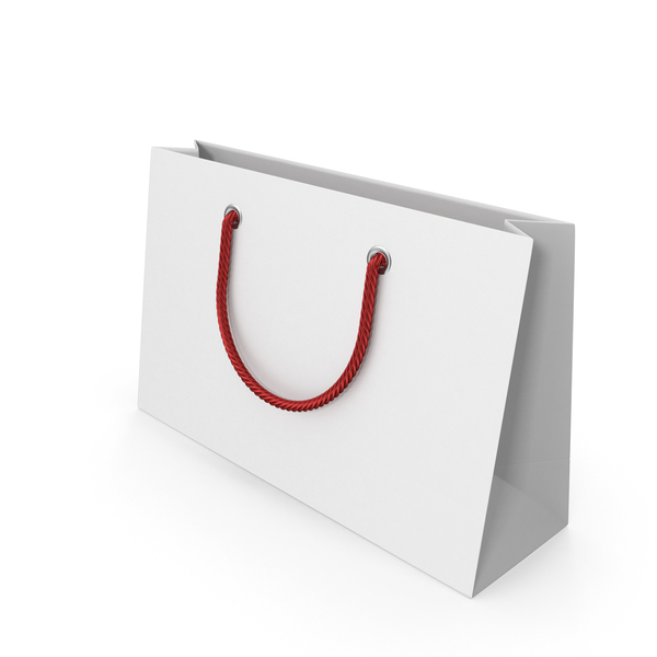 Gift: White Packaging Bag with Red Handles PNG & PSD Images