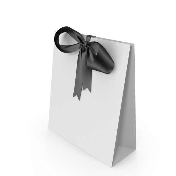White Packaging Paper with Black Ribbon Bow PNG & PSD Images