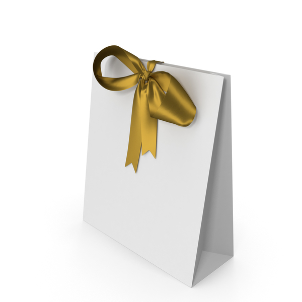 White Packaging Paper with Gold Ribbon Bow PNG & PSD Images