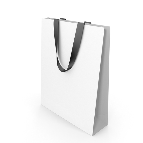 White Paper Bag with Black Handles PNG & PSD Images