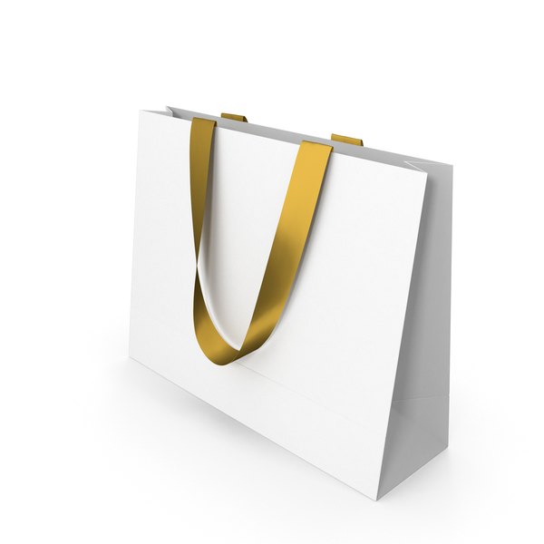 White Paper Bag with Gold Handles PNG & PSD Images
