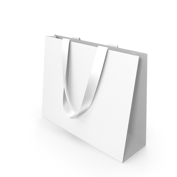 Gift: White Paper Bag with White Handles PNG & PSD Images