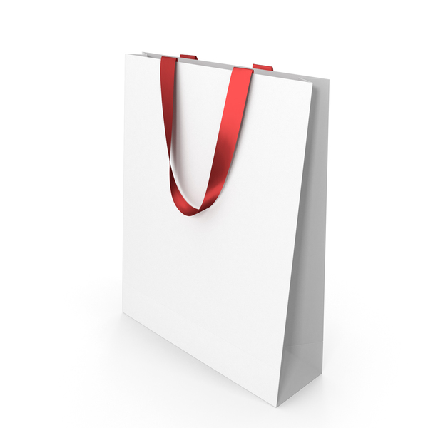 White Paper Bag with Red Handles PNG & PSD Images