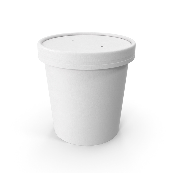 Takeaway Container: White Paper Food Cup with Vented Lid Disposable Ice Cream Bucket 16 Oz 450 ml PNG & PSD Images