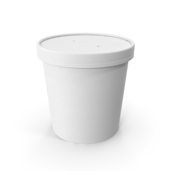 White Paper Food Cup with Vented Lid Disposable Ice Cream Bucket 26 Oz 750 ml PNG & PSD Images
