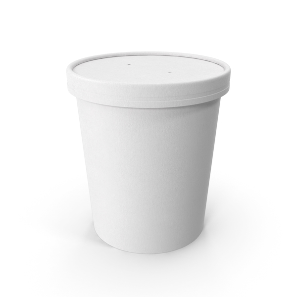 Takeaway Container: White Paper Food Cup with Vented Lid Disposable Ice Cream Bucket 32 Oz 900 ml PNG & PSD Images