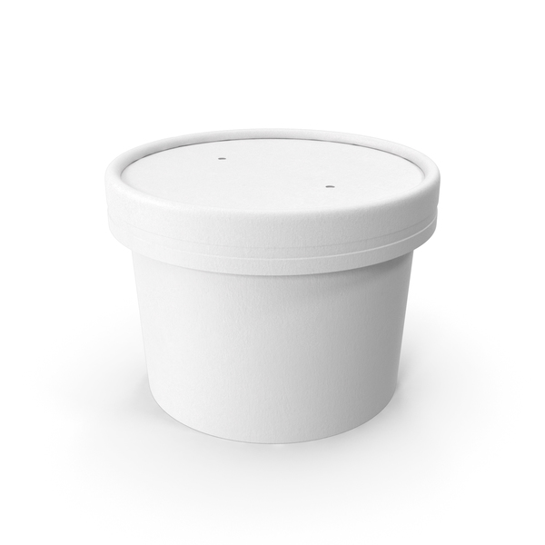 White Paper Food Cup with Vented Lid Disposable Ice Cream Bucket 8 Oz 200 ml PNG & PSD Images