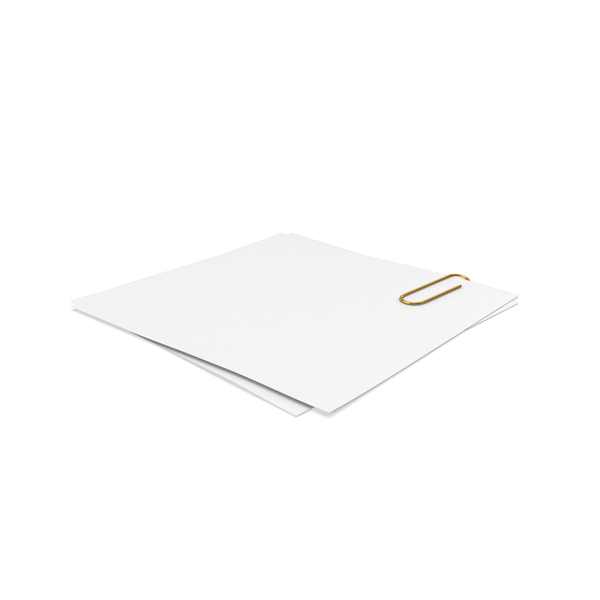 Sticky Note: White Papers With Paper Clip PNG & PSD Images