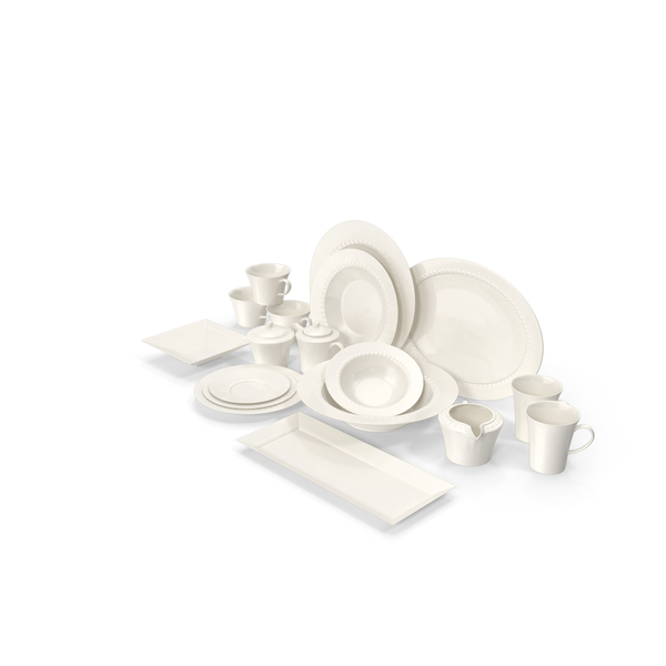 Kitchenware: White Pearl Dinnerware PNG & PSD Images