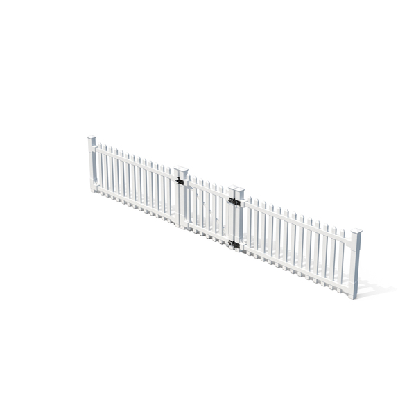 White Picket Fence Section and Gate PNG & PSD Images