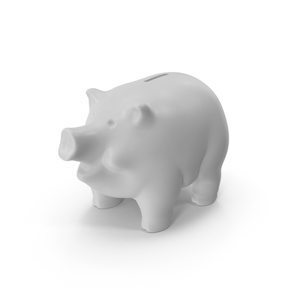 White Piggy Bank PNG & PSD Images