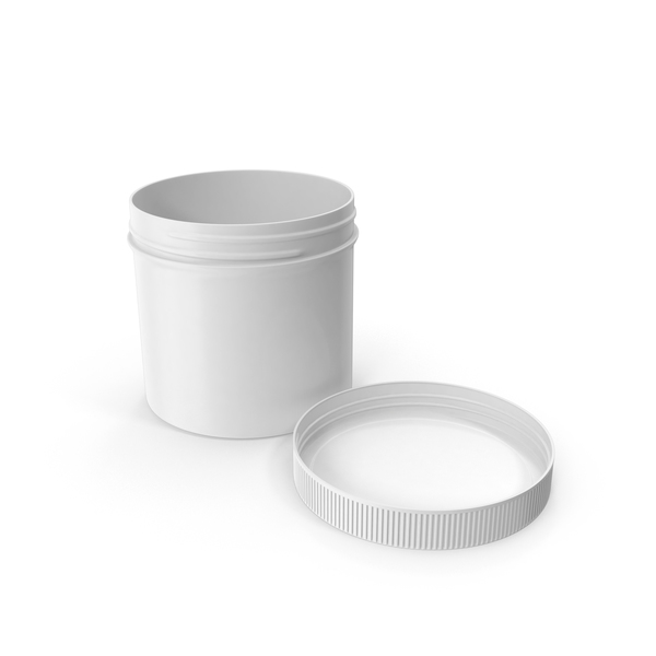 White Plastic Jar Wide Mouth Straight Sided 12oz Cap Laying PNG & PSD Images