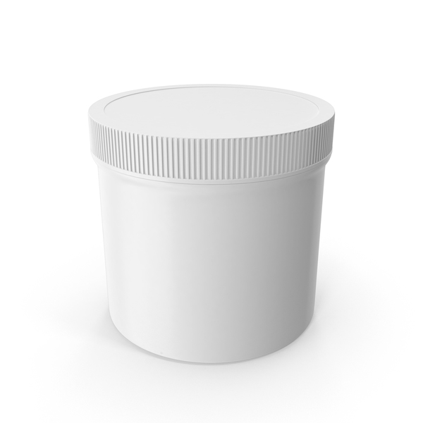 White Plastic Jar Wide Mouth Straight Sided 12oz Closed PNG & PSD Images