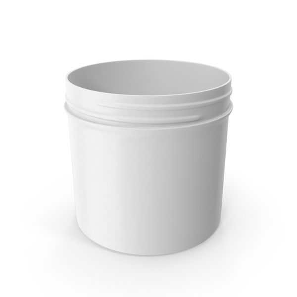 White Plastic Jar Wide Mouth Straight Sided 12oz Without Cap PNG & PSD Images