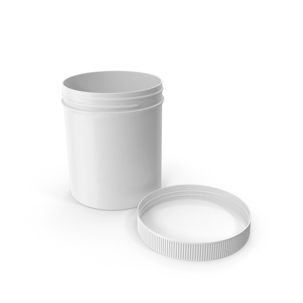 White Plastic Jar Wide Mouth Straight Sided 16oz Cap Laying PNG & PSD Images