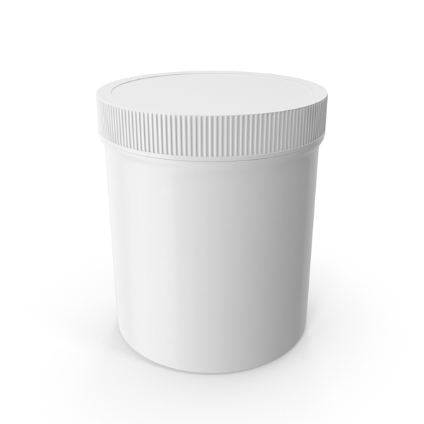 Food Container: White Plastic Jar Wide Mouth Straight Sided 16oz Closed PNG & PSD Images