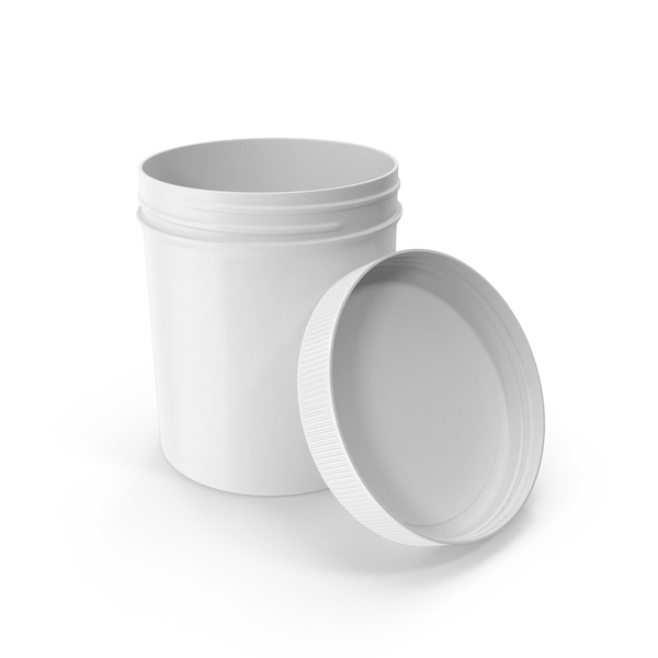 Food Container: White Plastic Jar Wide Mouth Straight Sided 16oz Open PNG & PSD Images
