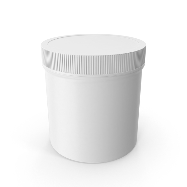 White Plastic Jar Wide Mouth Straight Sided 19oz Closed PNG & PSD Images