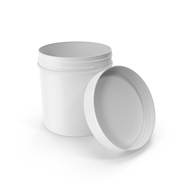 White Plastic Jar Wide Mouth Straight Sided 19oz Open PNG & PSD Images