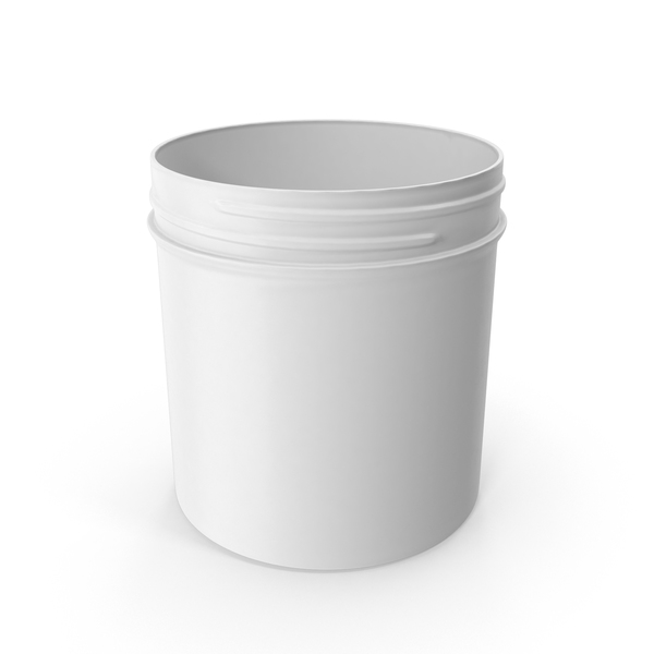 Food Container: White Plastic Jar Wide Mouth Straight Sided 19oz Without Cap PNG & PSD Images