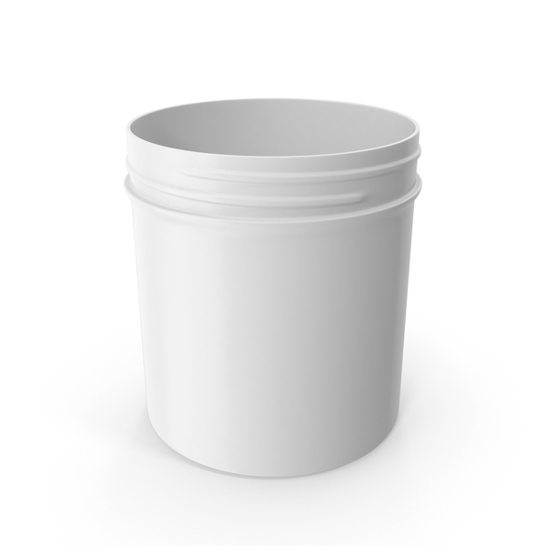 Food Container: White Plastic Jar Wide Mouth Straight Sided 20oz Without Cap PNG & PSD Images