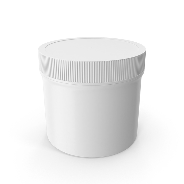 Food Container: White Plastic Jar Wide Mouth Straight Sided 4oz Closed PNG & PSD Images