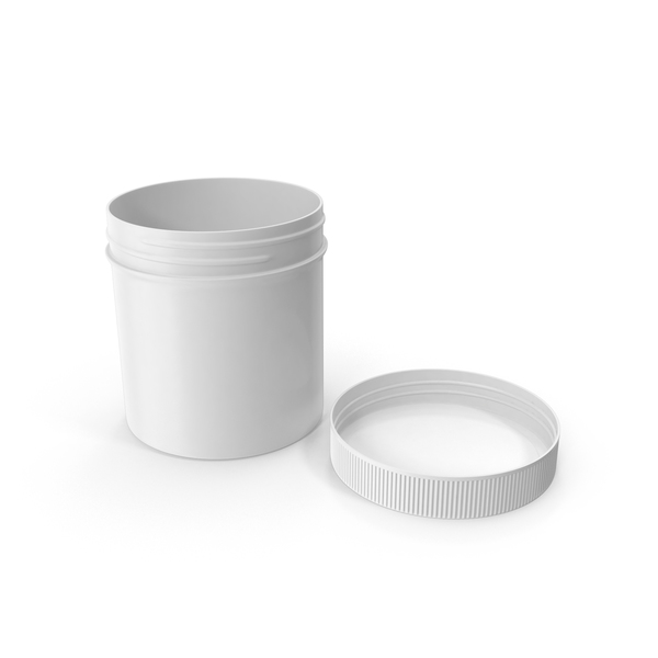 White Plastic Jar Wide Mouth Straight Sided 6oz Cap Laying PNG & PSD Images