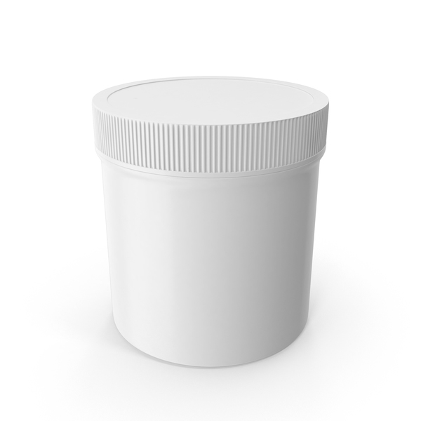 Food Container: White Plastic Jar Wide Mouth Straight Sided 6oz Closed PNG & PSD Images