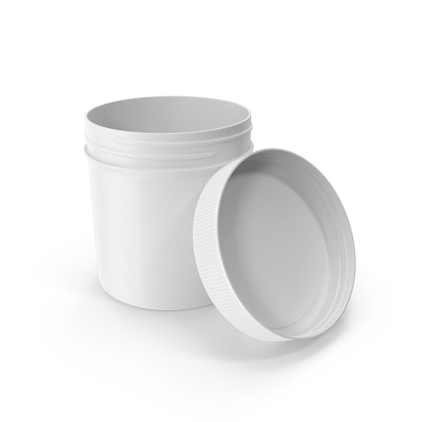 Food Container: White Plastic Jar Wide Mouth Straight Sided 6oz Open PNG & PSD Images