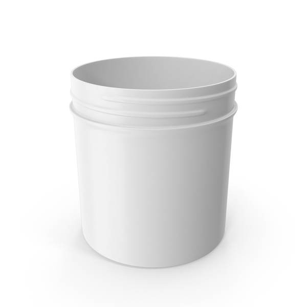 White Plastic Jar Wide Mouth Straight Sided 6oz Without Cap PNG & PSD Images