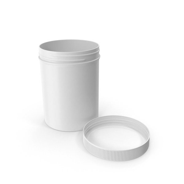 White Plastic Jar Wide Mouth Straight Sided 8oz Cap Laying PNG & PSD Images