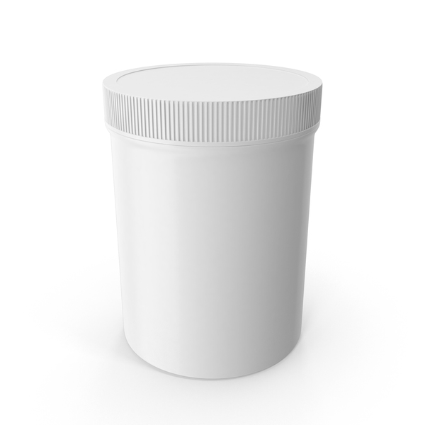 White Plastic Jar Wide Mouth Straight Sided 8oz Closed PNG & PSD Images